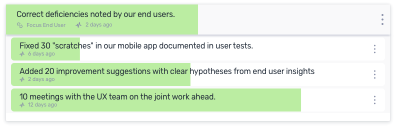 An OKR focused on working closer to the user and addressing the most obvious deficiencies detected by users.