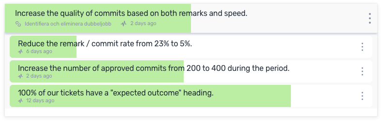An OKR with a focus on reducing the workload between developers and testers.