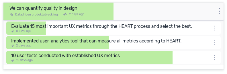 An OKR with a focus on creating an objective process for assessing user value of the design work.