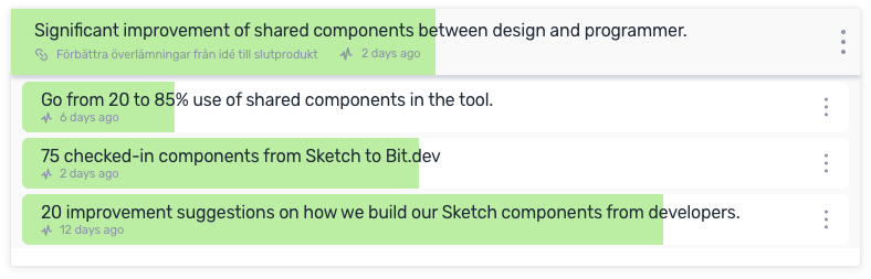 An OKR with a focus on improving the handover between designers and programmers.